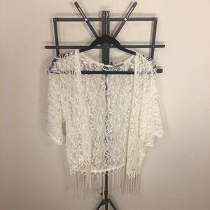 White / Cream Lace Charlotte Russe Cardigan